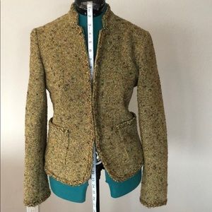 J. Crew Womens Gold Green Tweed Jacket sz 4